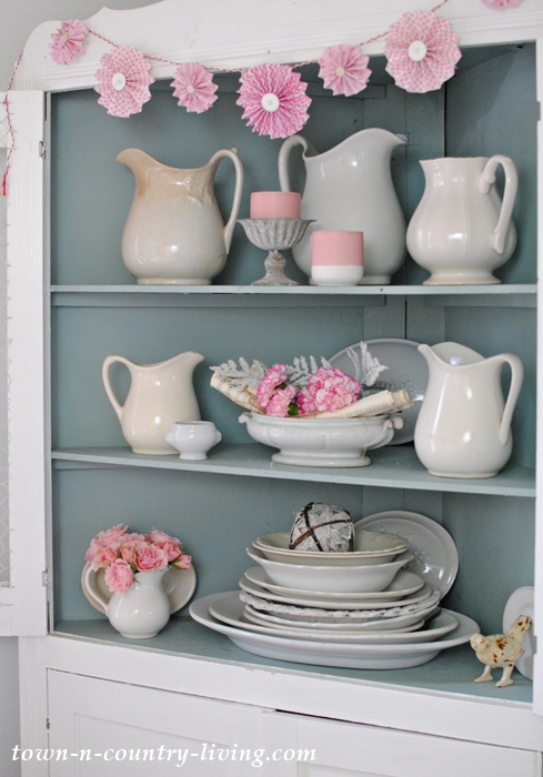 Dining Hutch with White Ironstone and Touches of Pink