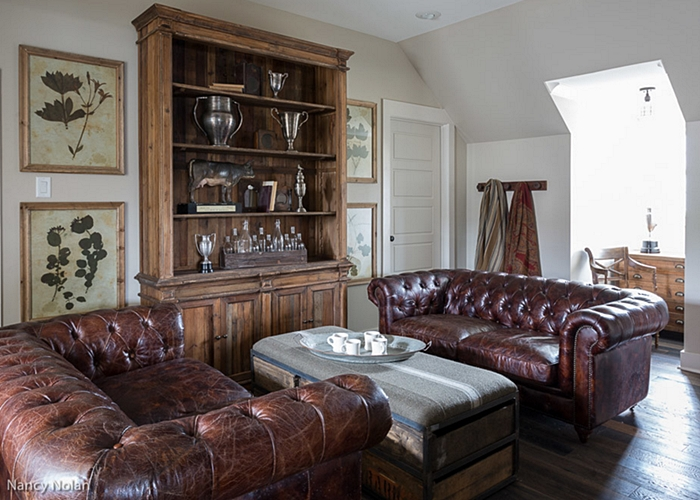 Family Room with Leather Chesterfield Sofas