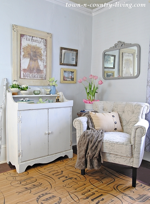 Farmhouse Sitting Room with Club Chairs and Dry Sink (for storage)