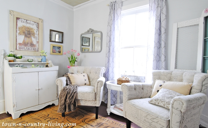 Farmhouse Sitting Room with Script Club Chairs