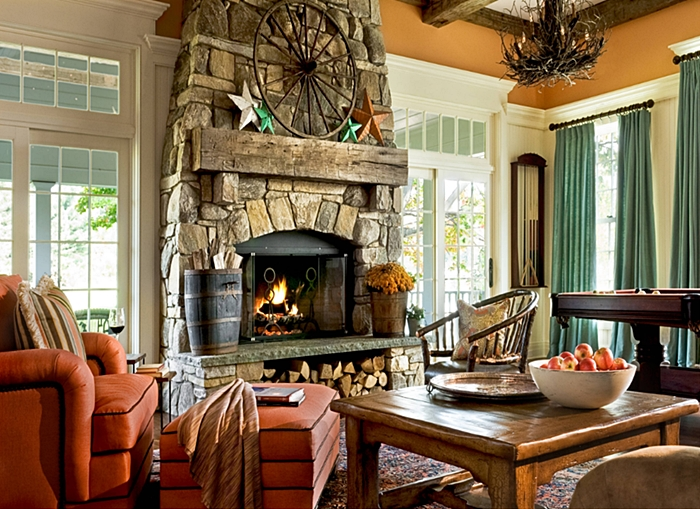 Rustic Country Style Living Room in Hudson Valley House