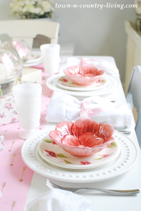 Pink and White Table Setting