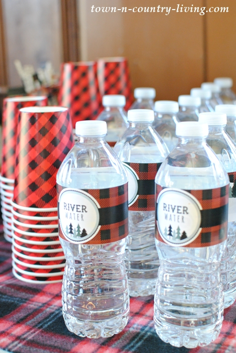 River Water Bottle Wrappers for a Lumberjack Party