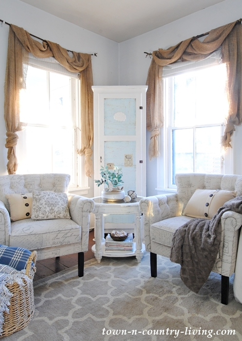 New family room chairs in script fabric