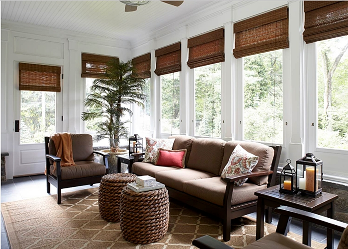 Beautiful Sun Room with Neutral Decor