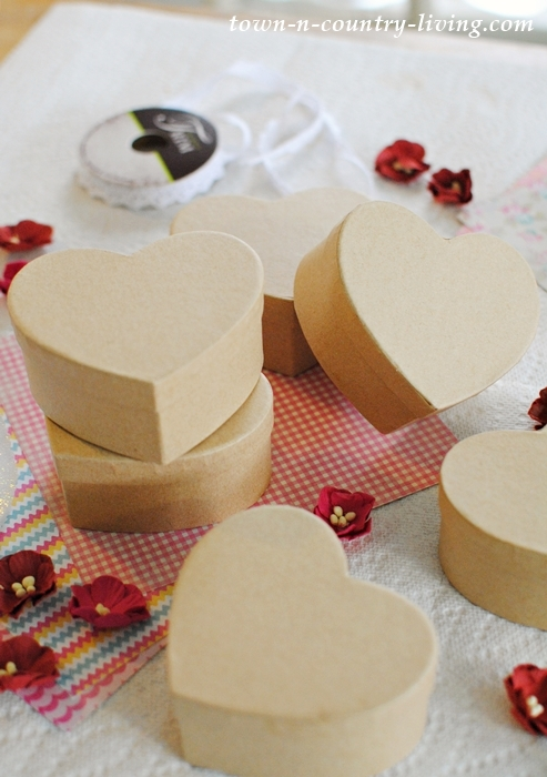 Supplies for Making Valentine Heart Boxes