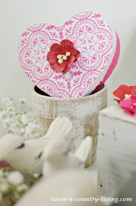 Valentine Heart Boxes made from plain paper mache boxes.