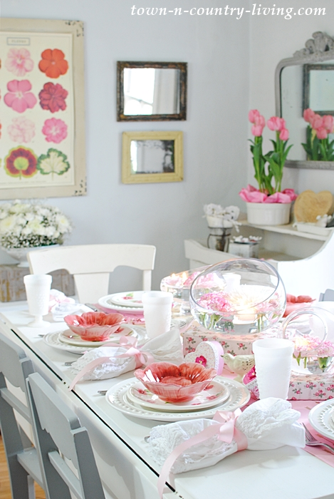 Pink and White Dishes and Flowers for Valentine's Day