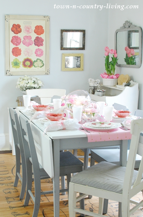 Farmhouse Dining Room Dressed in Pink and White