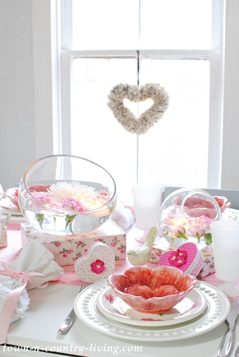 Pink and White is the Theme for a Valentine's Day Table Setting
