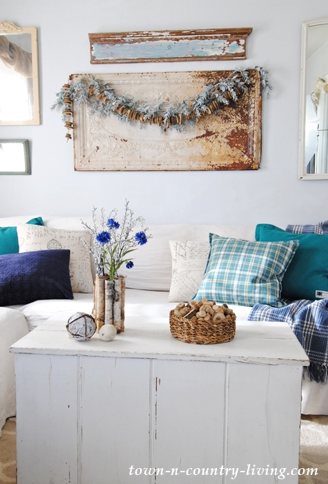 Winter Decorating with Blues and Natural Elements