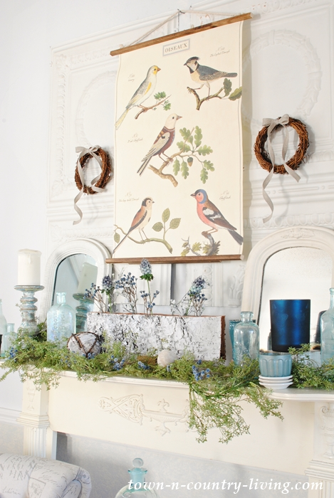 Winter Mantel with Candles and Nature