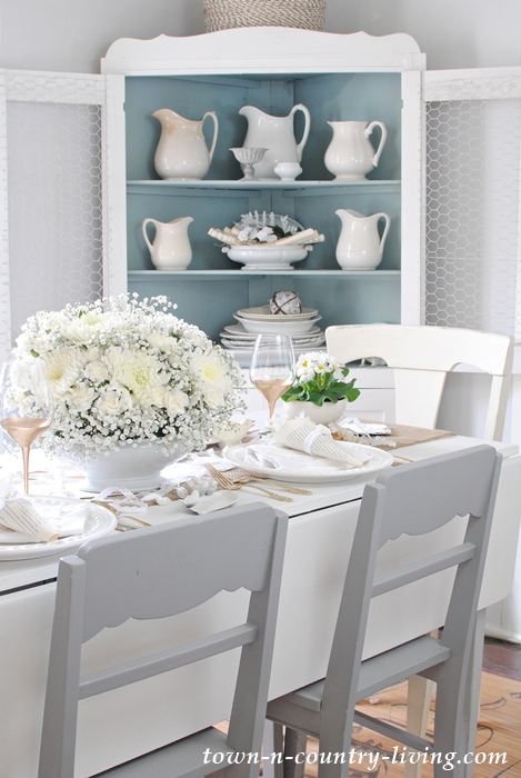 Winter White Table Setting in a Farmhouse Dining Room