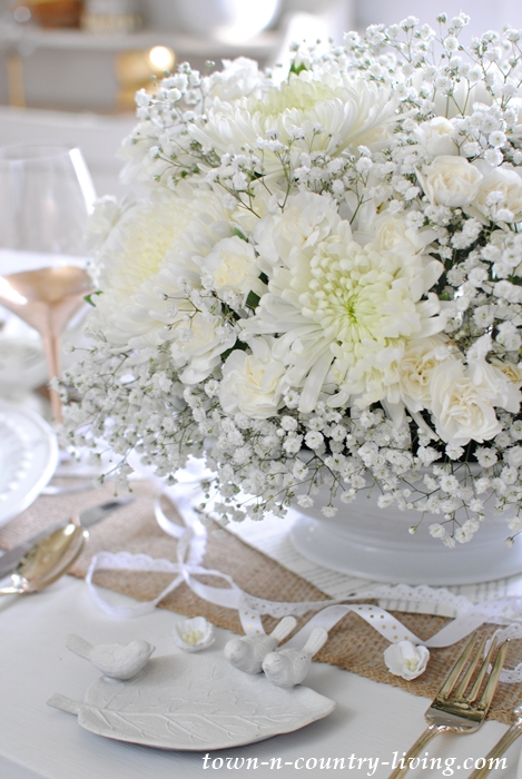 Winter White Floral Arrangement in an Ironstone Soup Tureen