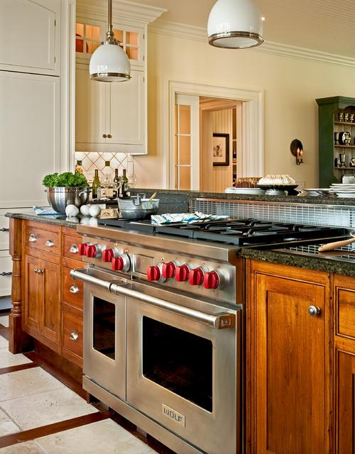 Industrial Range in Farmhouse Style Kitchen