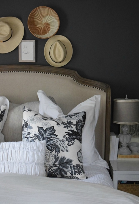Cozy comfy bedding that 39 s oh so pretty town country living for Dark bedroom walls