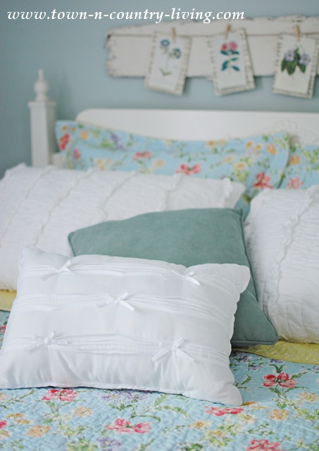 Unique Pillows for the Bedroom with a Laura Ashley Quilt