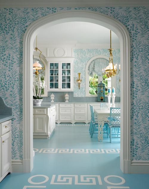 Blue and White Kitchen Wallpaper