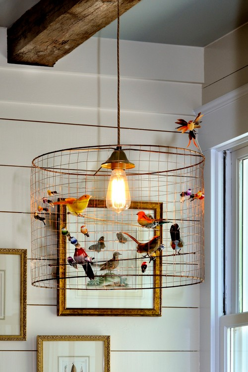 Wire Pendant Light with Bird Adornments
