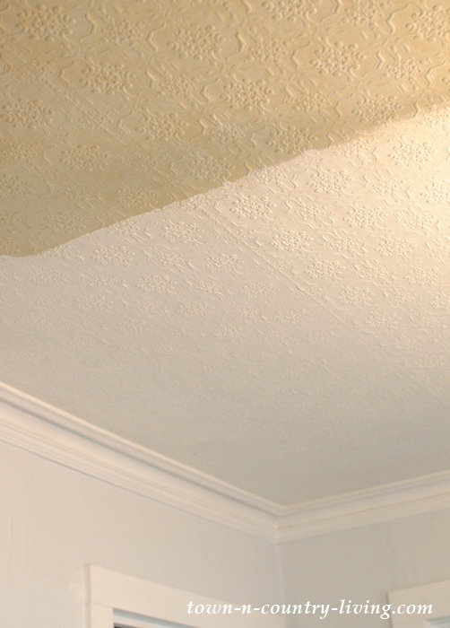 Painting Embossed Wallpaper on a Ceiling