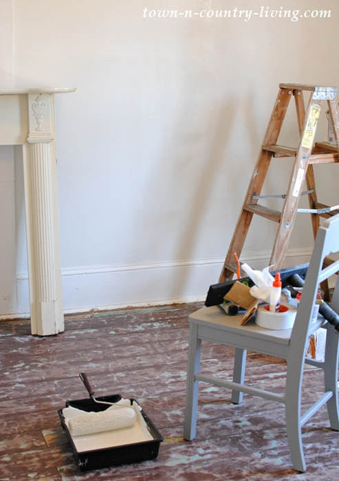 Dining Room Makeover with painted floors and walls