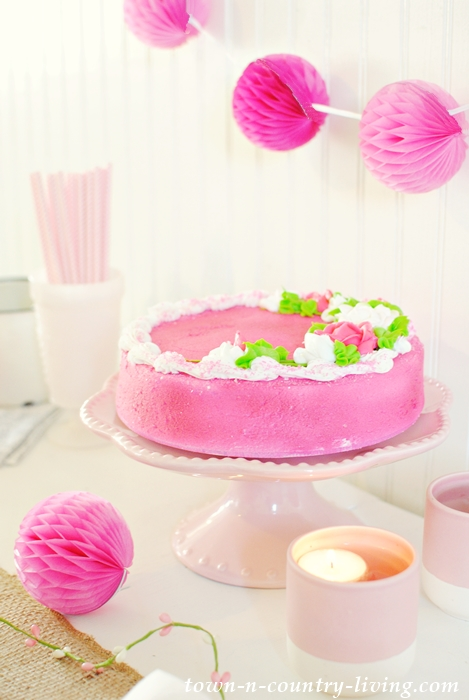 Pink Cake for a Spring Table