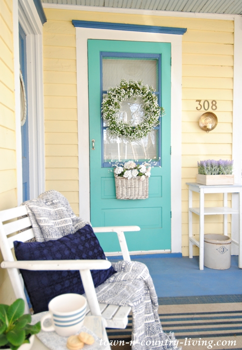 Spring Porch - Circa 1875 Farmhouse Porch with Spring Decorations