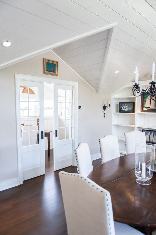 White Shiplap Walls in a Dining Room