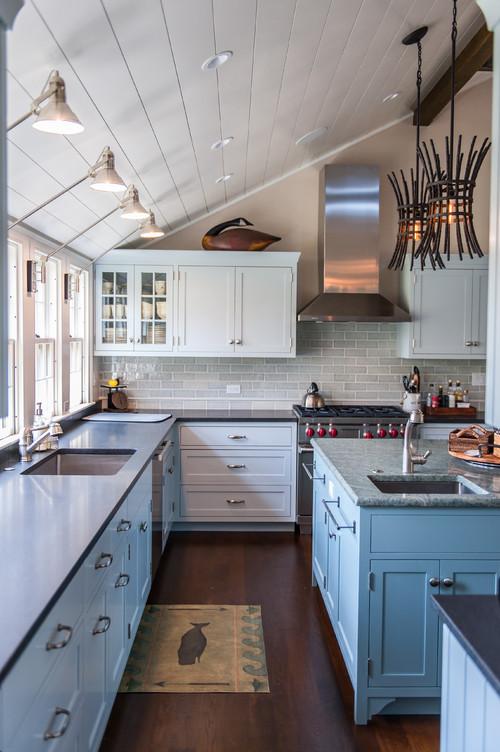 Blue and White Kitchen Cabinets