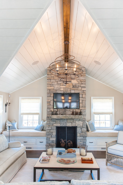 Beach Style Living Room with Vaulted Ceiling