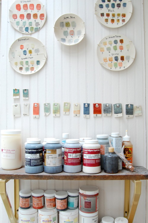 Inside an Artist's Shed where ceramics are made.