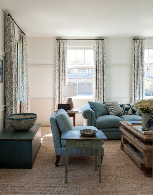 Farmhouse Family Room in Blue and White