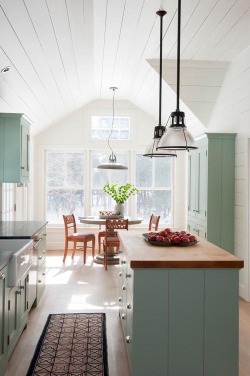 Farmhouse Kitchen with Pendant Lighting