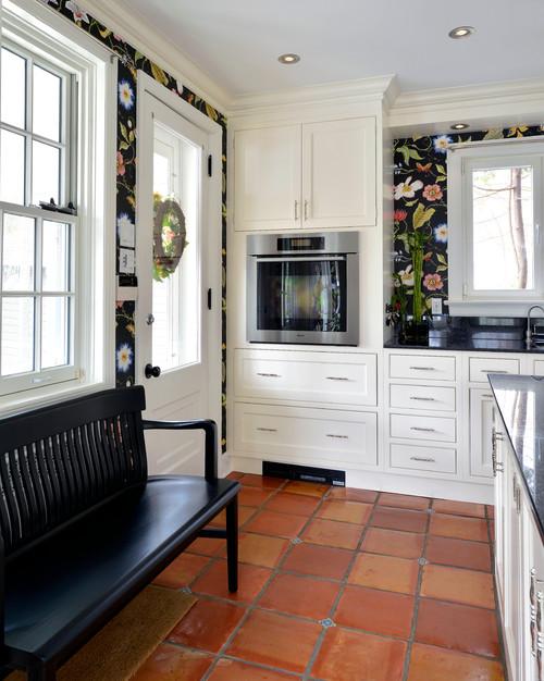 Farmhouse Kitchen in White and Wallpaper