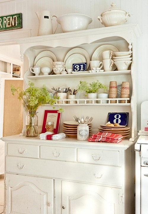 Vintage Cottage Kitchen in Red and White