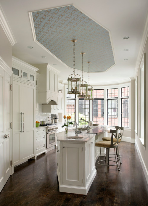 Wallpapered Ceiling in White Kitchen