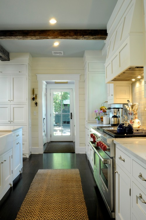 White Kitchen Cabinets and Dark Wood Floors