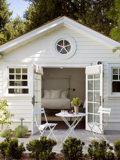 Elegant She Shed with Bed and Patio