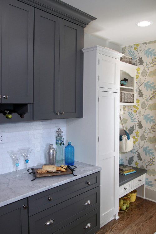 Gray and White Kitchen with Leafy Kitchen Wallpaper