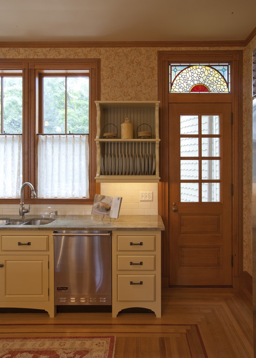 Victorian Kitchen with Wallpaper