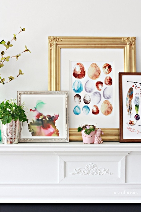 Spring Mantel by Nest of Posies.