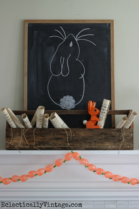 Easter Bunny Mantel with DIY Carrot Garland - from Eclectically Vintage
