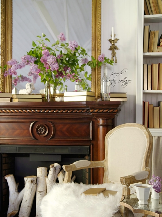 Gorgeous Spring Mantel with Lilacs - by French Country Cottage