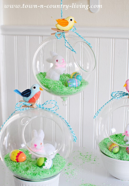 Easter Globes. spring decor, Easter craft, Easter project, spring decor, hanging glass globes.