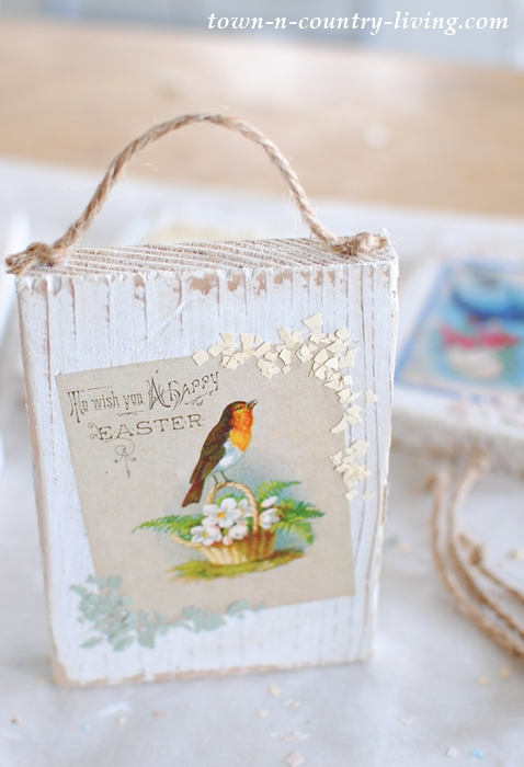 Use a vintage Easter printable to create a pretty wood block for hanging