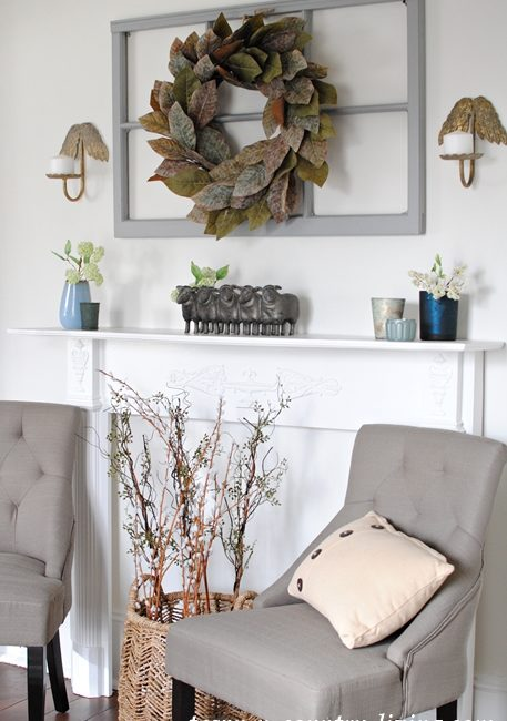 spring home tour, spring decorating, white mantel, farmhouse mantel, magnolia leaf wreath