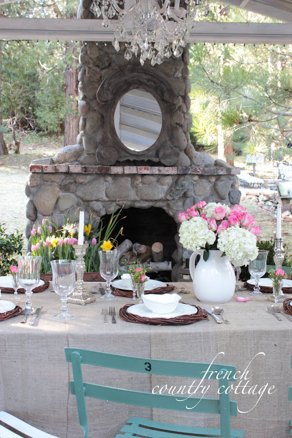 Outdoor Spring Table Setting by French Country Cottage