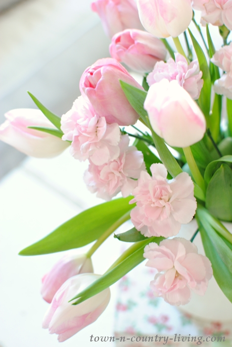 Pink Tulips, spring decor, pink carnations, spring bouquet