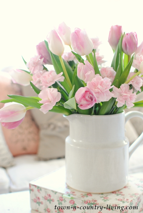 pink tulips, spring tulips, white ironstone pitcher, spring home tour, spring decorating