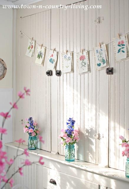 Spring Botanical Banner. book page crafts, botanical prints, diy, crafts, banner, garland, spring decor